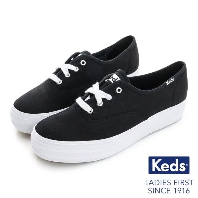 Keds 品牌經典厚底綁帶休閒鞋-黑