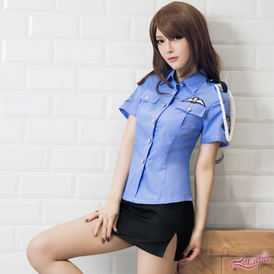 女警服 角色扮演 藍黑女警制服二件組(藍F) Lorraine