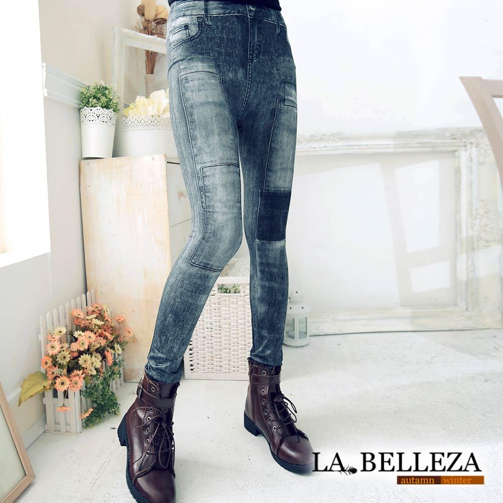 【La Belleza】貼補方塊假口袋刷色仿牛仔內搭褲