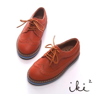 iki2童鞋-真皮雕花時尚牛津鞋-咖啡