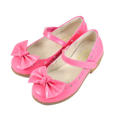 Swan天鵝童鞋-真皮愛心雕花蝴蝶結低跟公主鞋 3828-桃
