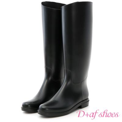 D+AF 極簡美學.顯瘦質感素面長筒雨靴*黑