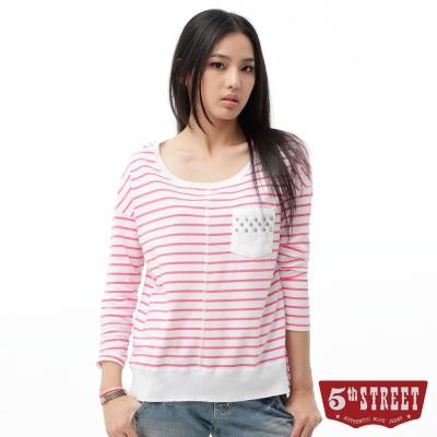 5th STREET T恤 條紋貼袋七分袖T恤-女-桃紅