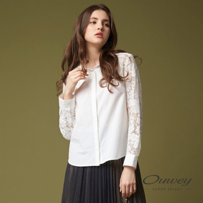 OUWEY歐薇 甜美率性縫飾蕾絲上衣(白)-動態show