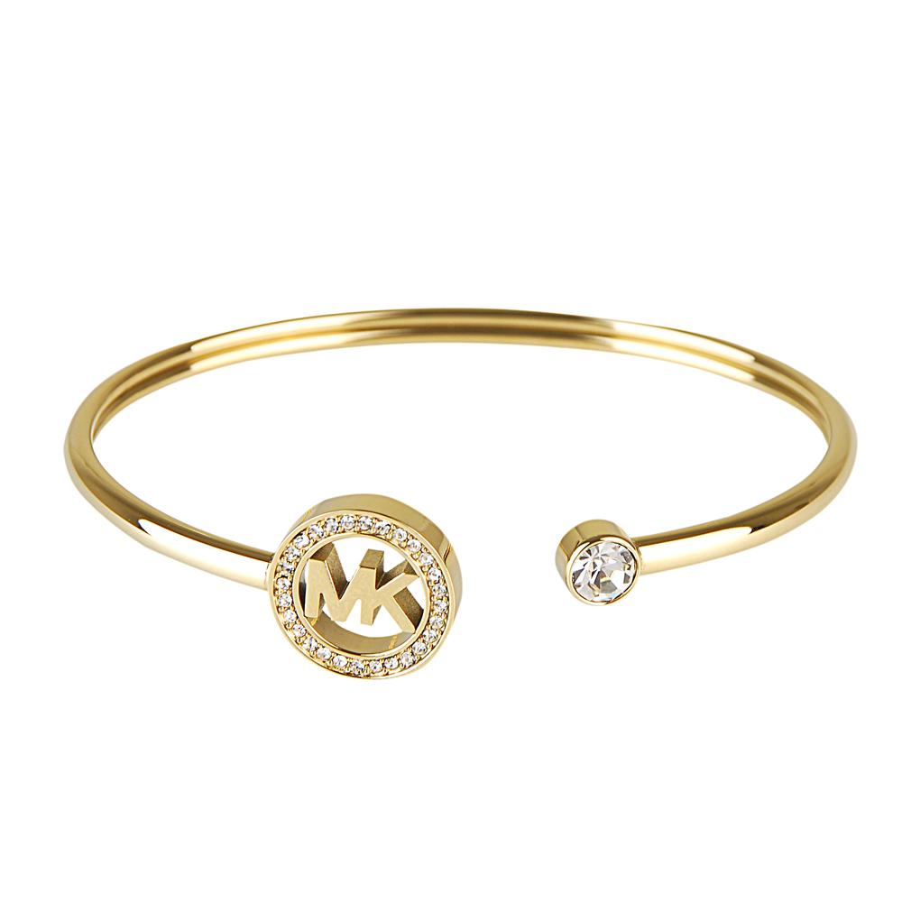MICHAEL KORS經典鑲鑽縮寫LOGO手環(金)