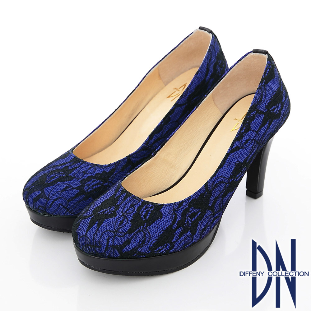 DN 優雅仕女 MIT法式鏤花蕾絲高跟鞋 藍