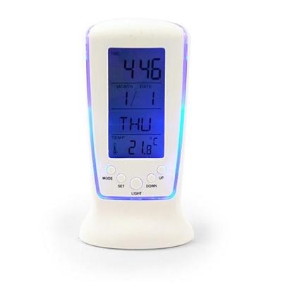 白色冷光萬年曆時鐘