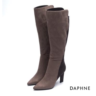 達芙妮DAPHNE 長靴-拼接線條絨布造型鞋跟長靴-卡其