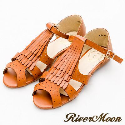 River&Moon涼鞋-復古學院風-T字流蘇扣踝平底涼鞋-黃棕