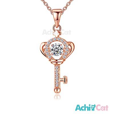 AchiCat 925純銀 跳舞的項鍊 開啟戀情 跳舞石(玫瑰金)