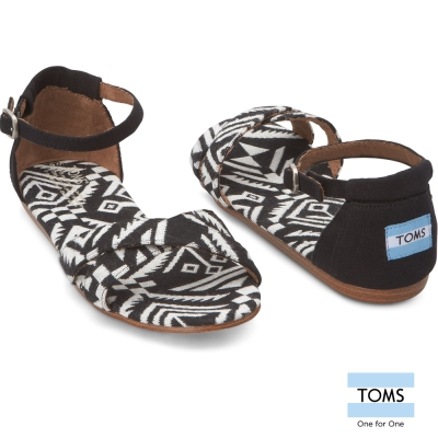TOMS 繫踝圖騰平底涼鞋-女款(黑)