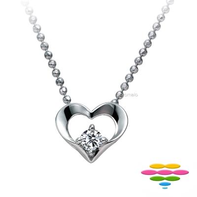 彩糖鑽工坊 心有獨鍾14K白 愛心造型鑽石項鍊