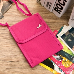 DF Queenin - 韓版隨身旅行斜背式護照包證件包-玫紅
