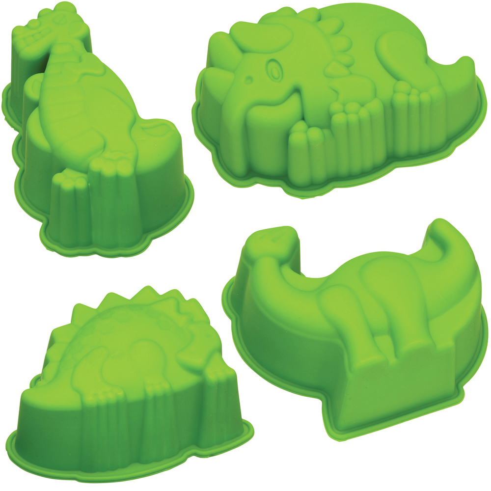 KitchenCraft 矽膠蛋糕模4件(恐龍)