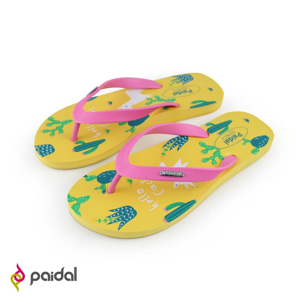 paidal仙人掌與羊足弓夾腳拖鞋-草莓粉