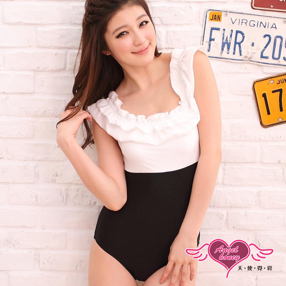 泳衣 典韻嚮宴 連身一件式泳裝(白黑M~XL) AngelHoney天使霓裳