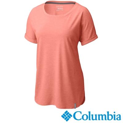 【Columbia哥倫比亞】女-快排短袖瑜珈上衣-橘紅色 UAK19560AH