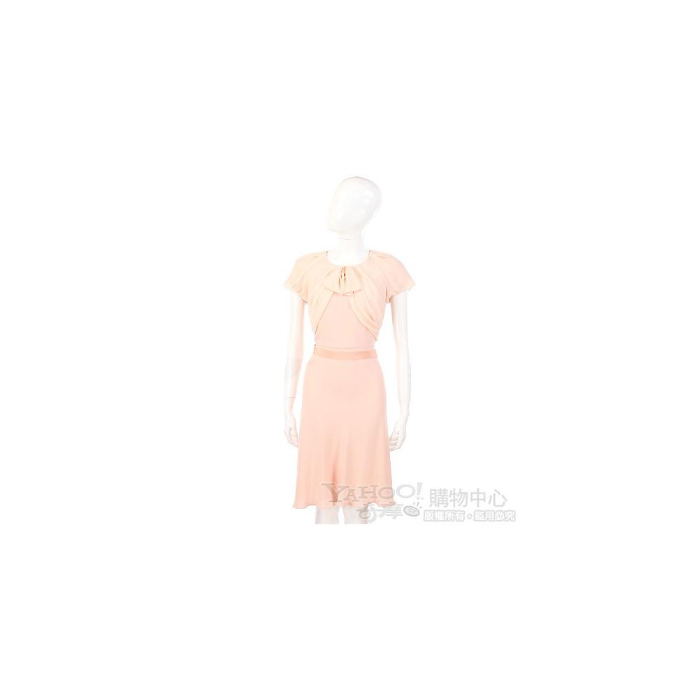 Max Mara 粉色拼接設計短袖洋裝
