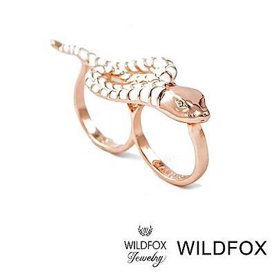 Wildfox Couture 美國品牌 玫瑰金蛇戒指 古典搪瓷蛇雙環戒