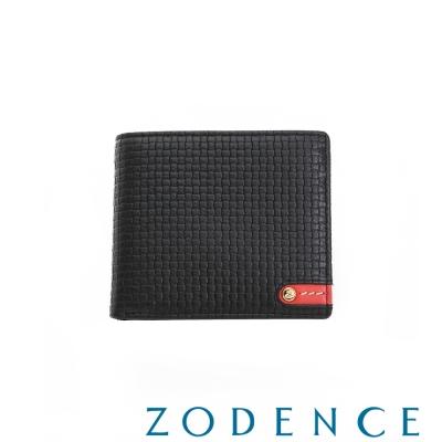 ZODENCE MAN義大利牛皮系列紅底配色LOGO三折短夾 織紋黑