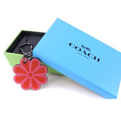 COACH-花朵造型皮革鑰匙扣-粉紅