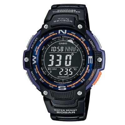 CASIO 雄霸南北運動風數位錶(SGW-100-2B)-黑x紫/47.6mm