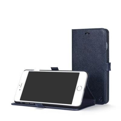 STORY皮套王 iphone 6 plus / 6s plus 摺邊折疊式十字紋深藍現貨