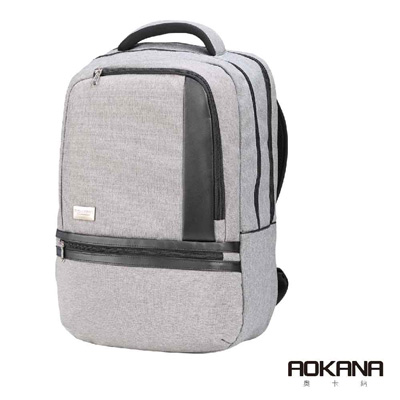 AOKANA奧卡納 輕量防潑水護脊電腦商務後背包(時尚灰)68-091