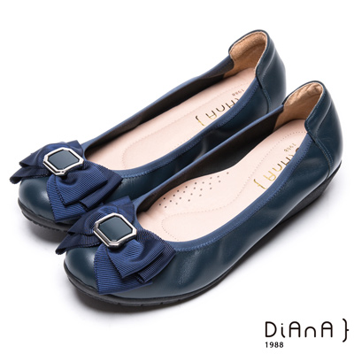 DIANA 舒適甜美--質感方釦蝴蝶結楔型娃娃鞋-藍