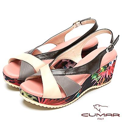 CUMAR艷夏時尚-搶眼色彩搭配厚底台涼鞋-深咖