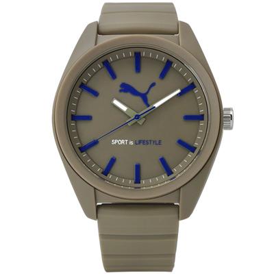 PUMA 青春跳躍新指標 橡膠手錶~米灰色 45mm