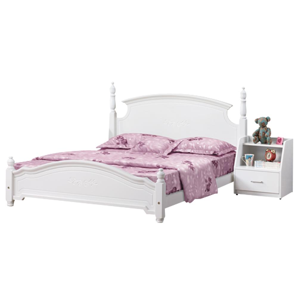 時尚屋 維格5尺白色雙人床91-1(只含床頭-床架-床頭櫃)