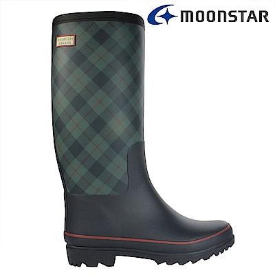 Moonstar日本 女 長筒保暖雨靴(藍格)