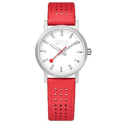 MONDAINE 瑞士國鐵Classic經典系列腕錶-30mm/櫻桃紅