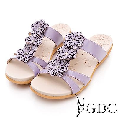 GDC-真皮花朵舒適軟底拖鞋-紫色