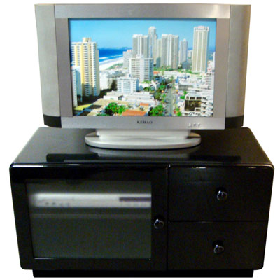 晶面圓角 晶面時尚-80W雙抽單玻璃門櫃 電視櫃-黑色