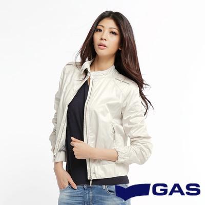 GAS  休閒時尚 軍裝肩飾立領尼龍夾克(米白)-女款