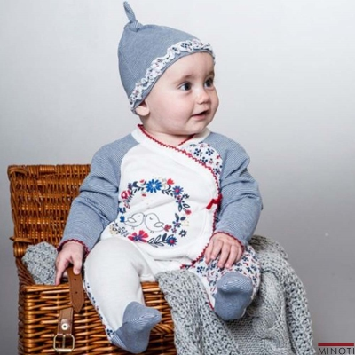 Minoti 英國 碎花藍條紋連身包腳衣帽子兩件組