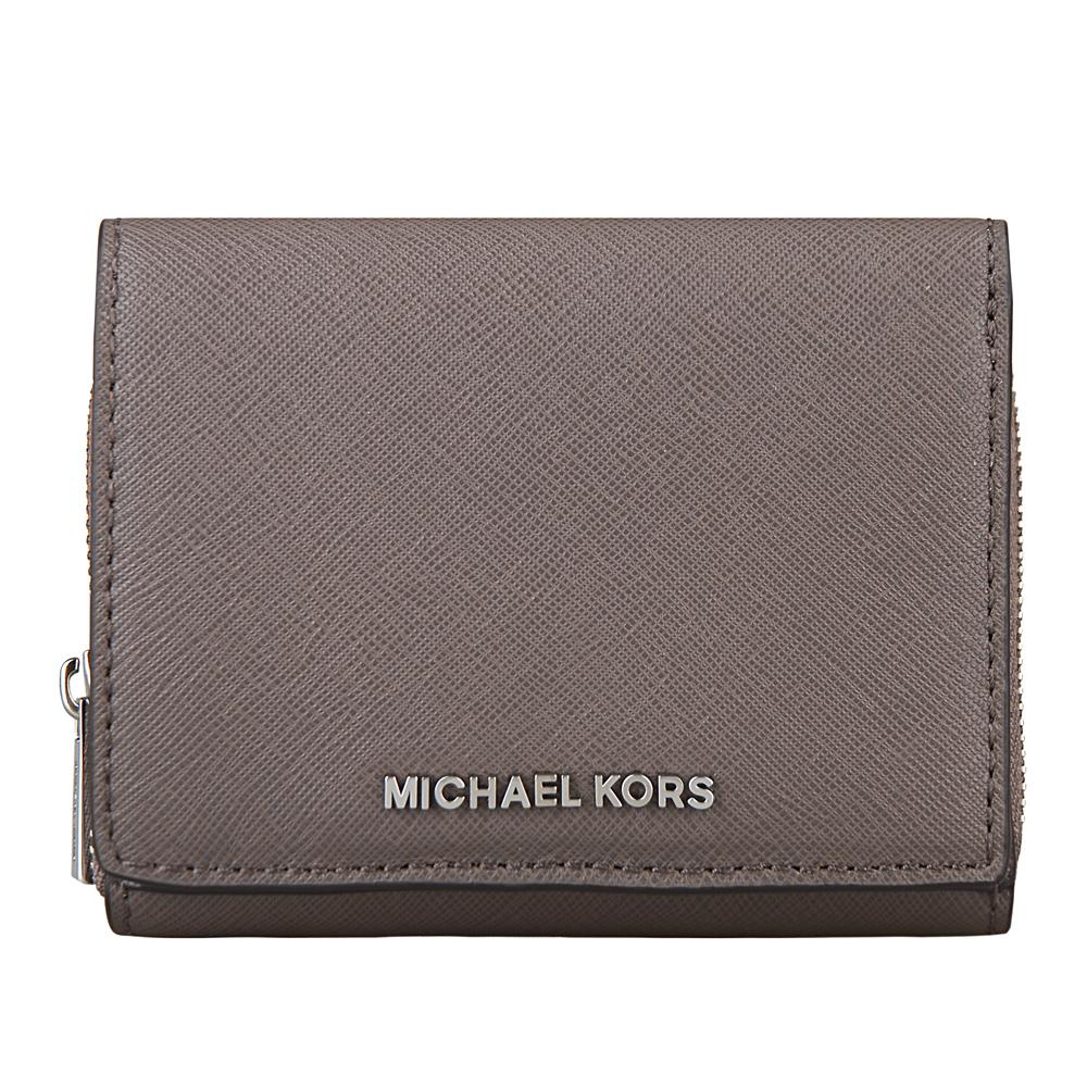 MICHAEL KORS JET SET TRAVEL銀字防刮牛皮扣式對折短夾深灰