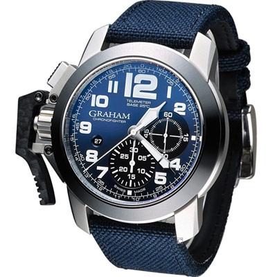 GRAHAM 格林漢 Sahara 左冠計時機械腕錶-藍/47mm