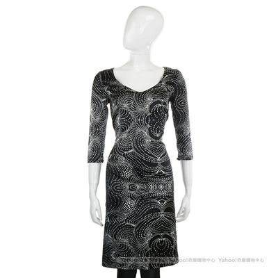 CLASS roberto cavalli 黑色抽象藝術圖騰拼接洋裝