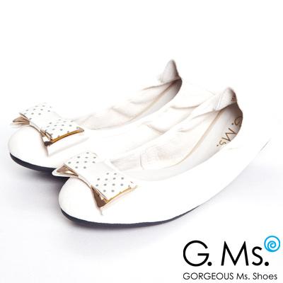 G.Ms.  輕旅行-水玉點點布金屬蝴蝶結折疊旅行鞋-牛奶白