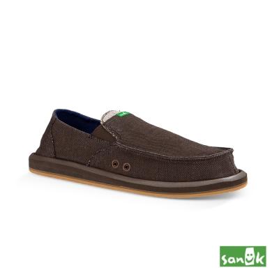 SANUK 口袋系列牛仔帆布懶人鞋-男款(咖啡色)