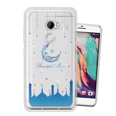 WT HTC One X10 奧地利水晶彩繪空壓手機殼(月彎星辰)