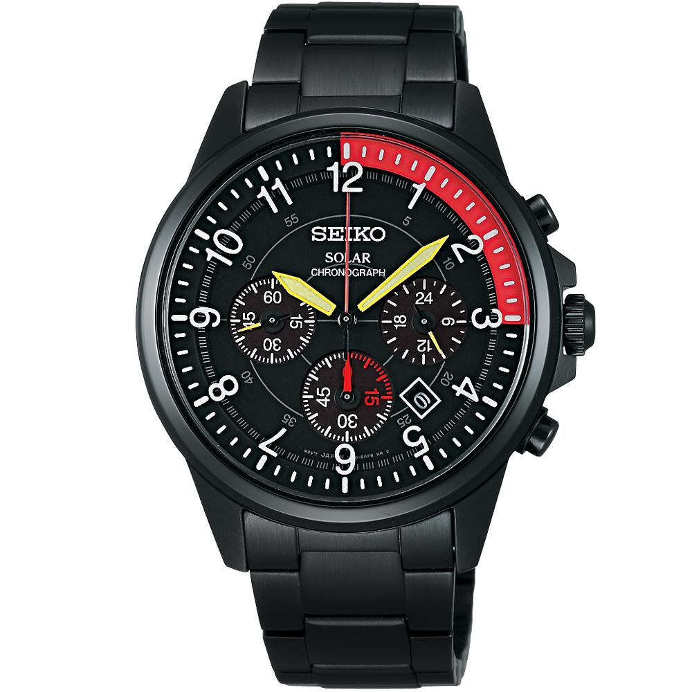 SEIKO 俠盜魯邦三世太陽能計時腕錶(SBPY039J)-IP黑/40mm