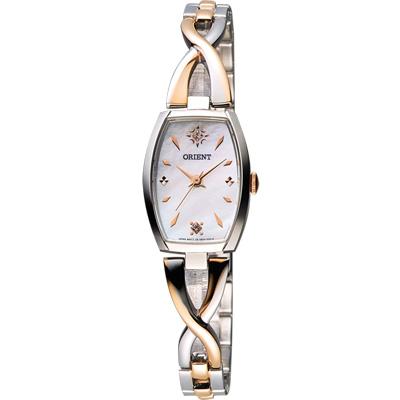 ORIENT 晶鑽時尚腕錶-珍珠貝x半玫瑰金/20mm