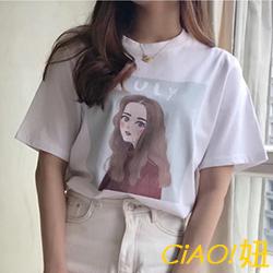 少女卡通印花圓領短袖T恤 (共二色)-CIAO妞