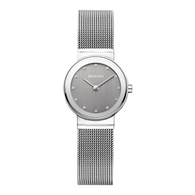 BERING  晶鑽米蘭帶系列 藍寶石鏡面 銀灰 小錶面 26mm