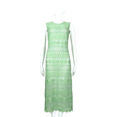 ERMANNO SCERVINO 綠色簍空雕花蕾絲無袖洋裝