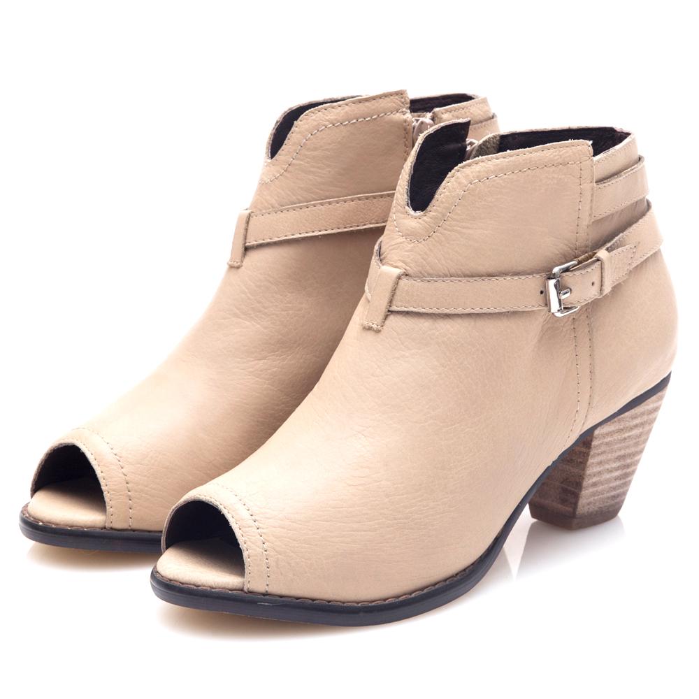 G.Ms. 牛皮魚口皮帶繞踝造型拉鍊粗跟踝靴-杏色